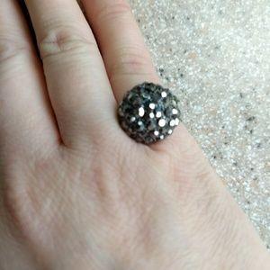 Adjustable charcoal rhinestone paved ring